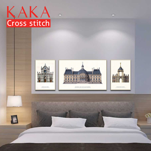 Image 2 - KAKA Cross stitch kits Embroidery needlework sets with printed pattern,11CT canvas,Home Decor for garden House,5D Architecture
