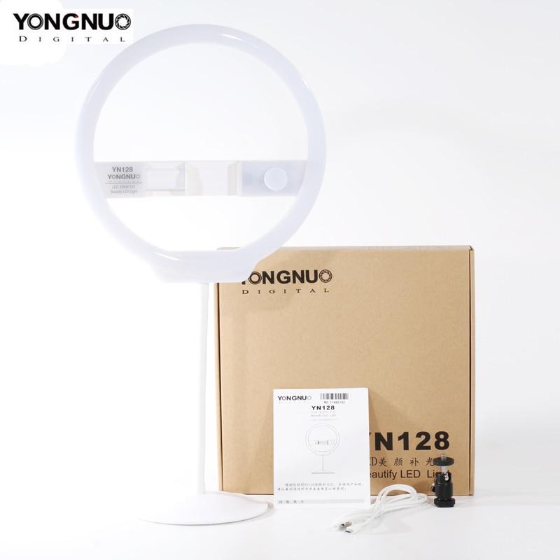 YONGNUO YN128 Mobile Phone LED Fill Light Beauty Lamp 3200K-5500K Adjustable Color Temperature Ring Light For Smart Phones
