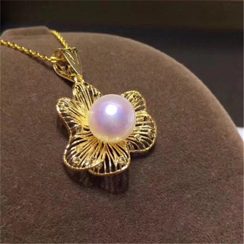 Livraison gratuite solide 18 k or jaune perle pendentif connecteur, tasse et cheville perle Cap, Dangle or fabrication de bijoux, pas de perle pas de chaîne - 3