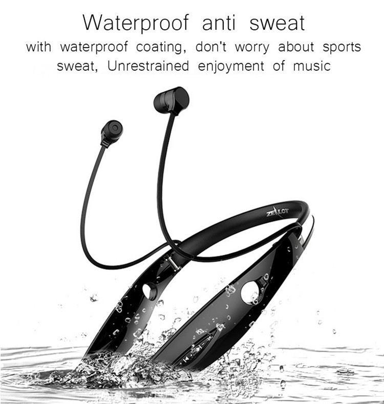 Neckband Bluetooth Sport Stereo Headset Zealots H1 HiFi Headphones With Mic For iPhoneSamsung Handfree Call (9)