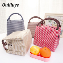 Ouliluye Canvas Lunch Bags Fashion Striped Insulated Bag For Portable Kids Business Food Container Box