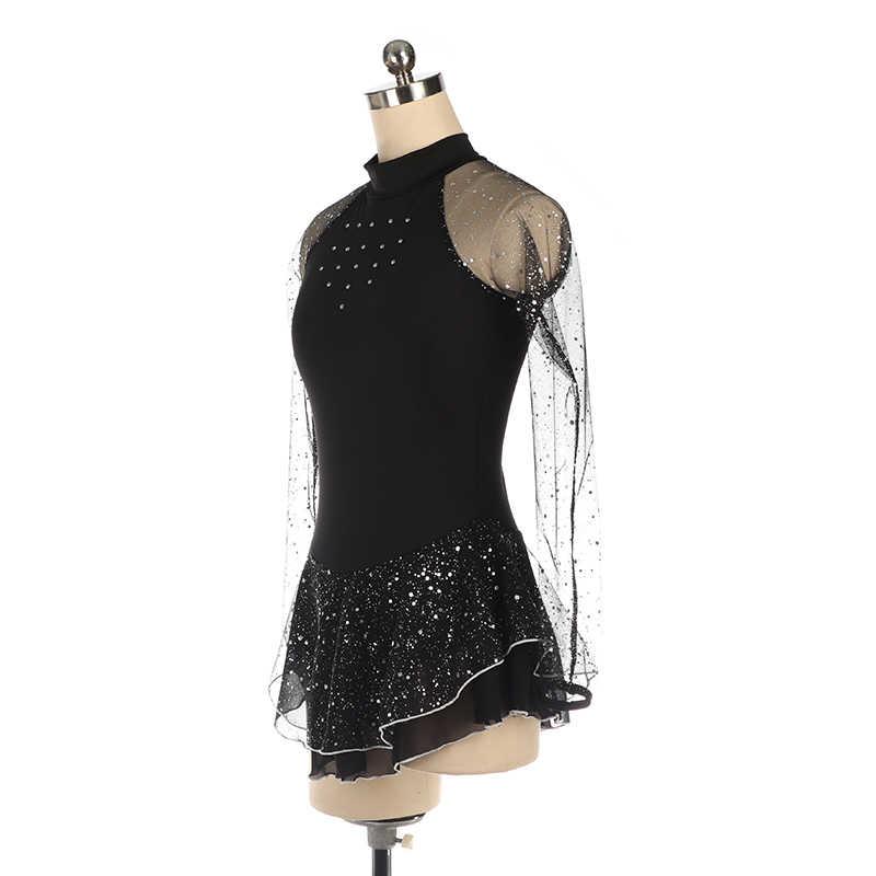Платье для фигурного катания, платье для конькобежцев, юбки для конькобежцев, для девочек, для детей, для соревнований по индивидуальному заказу, черные, белые, розовые, сетчатые, блестящие