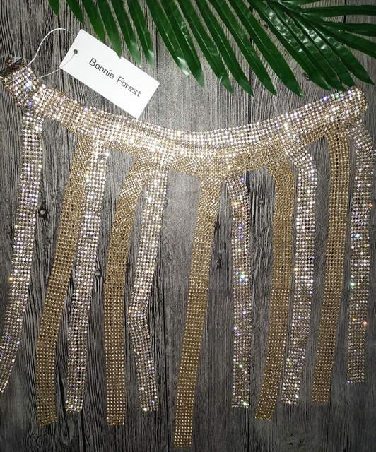 Bonnie Forest Sexy Crystal Studded Tassel Skirt Glitter Women Sexy Hollow-Out  Diamonds Waist Chain 06e38a9842d7