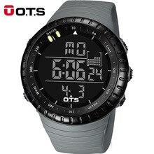 OTS Cool Noir Numérique Montres hommes sport 50 M Professionnel Étanche Grand cadran LED heures En Plein Air militaire Lumineux montre-bracelet