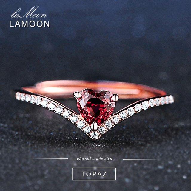 LAMOON Fine Jewelry Womens Body Rings Love Heart Red Garnet Ring 925 Sterling Si