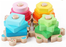 BOHS 12*12*5cm Children Educational Baby Toys Wooden Geometry Intelligence Plate Shape Pairing Set Column Blocks