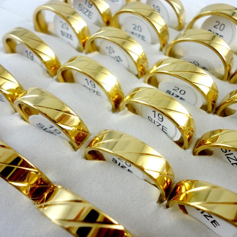10 Stücke Nie Verblassen Frauen Klassische Verpflichtungs-jahrestags Gold Edelstahl Ringe Für Frau Und Männer Weibliche Schmuck Lr241