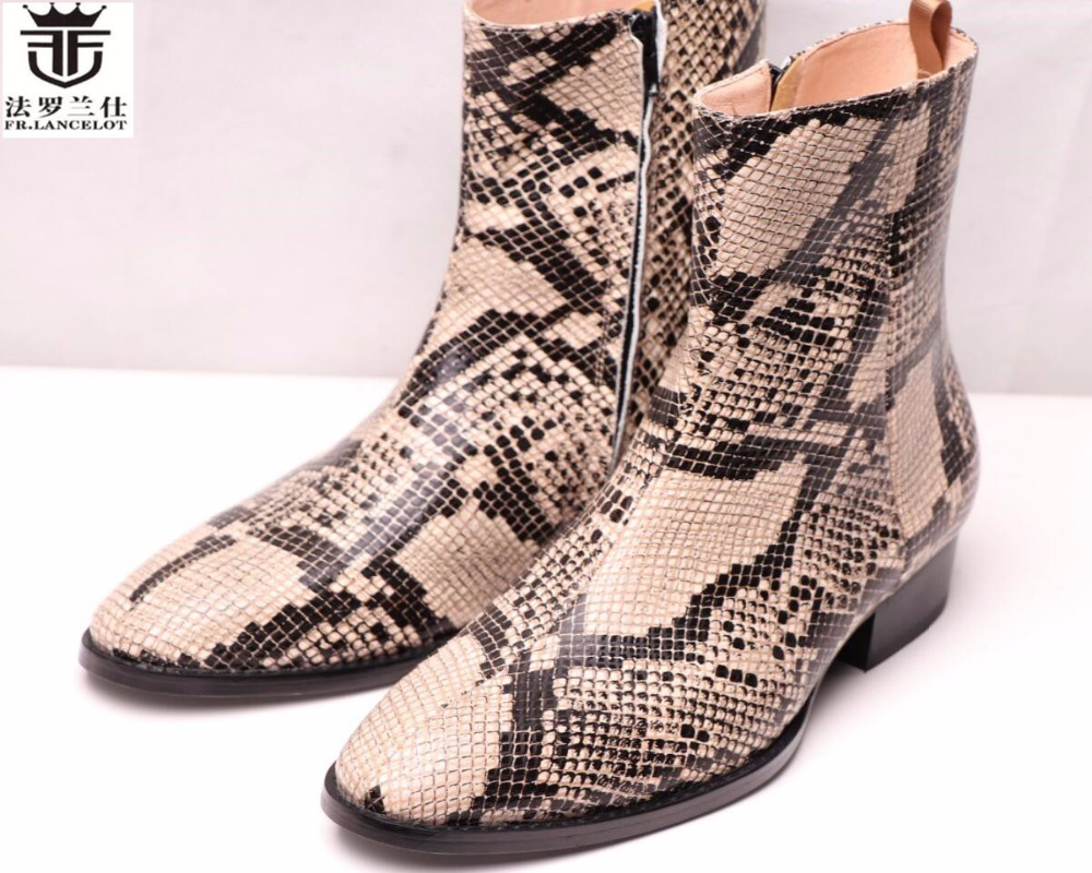 FR.LANCELOT new trend men british chelsea boots fashion high quality leather pointed toe brand boots print snakeskin boots men maden brand 2017 ner fashion brown men boots comfortable high quality leather boots british style heighten tooling boots
