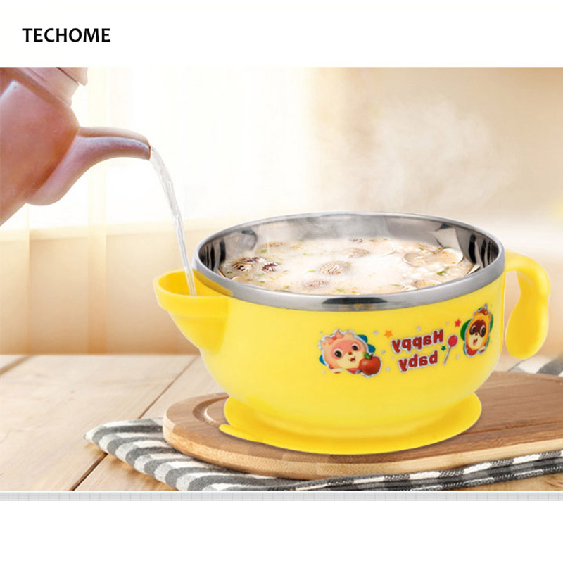Feeding Thermos Baby Dishes Insulation Injection Water Bowl 304 Stainless Steel Children Tableware Toddler Infant Rice Bowl Anti-slip Curing Cough And Facilitating Expectoration And Relieving Hoarseness