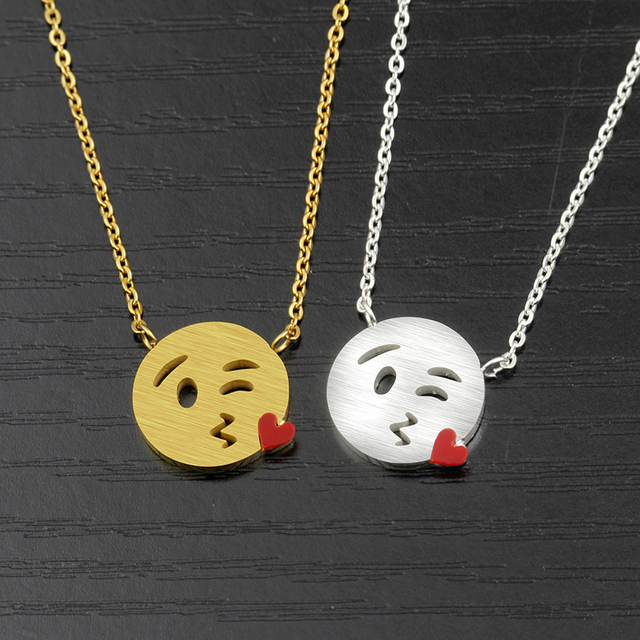 10PCS Fun Smile Face Kiss Me Emoji Necklace Stainless Steel Gold