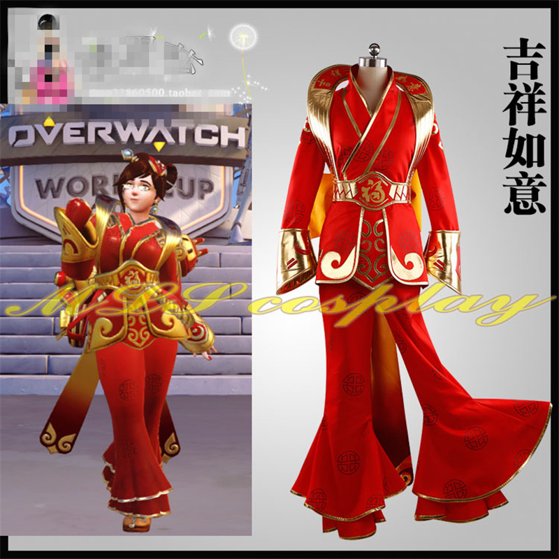 Anime Hot Game OW Luna Mei New Year Cosplay Costume Made Beautiful Red Dress Woman Man Clothing