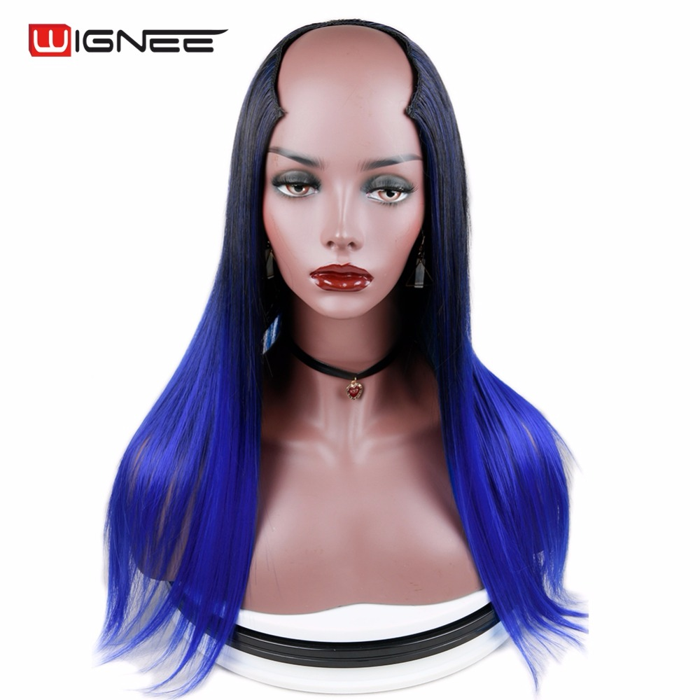 Wignee High Temperature 7 Clips In U Part Straight Hair Synthetic Wig For Black/White Women Cosplay Fake Blue Hair Auburn Wig