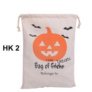 Image 3 - Sıcak Satış Pamuk Tuval El Çantası 30 adet/grup Cadılar Bayramı Çuval Cadılar Bayramı Hediyeler Çanta Şeker Torbaları 6 Stilleri Cadılar Bayramı Çuval çocuk