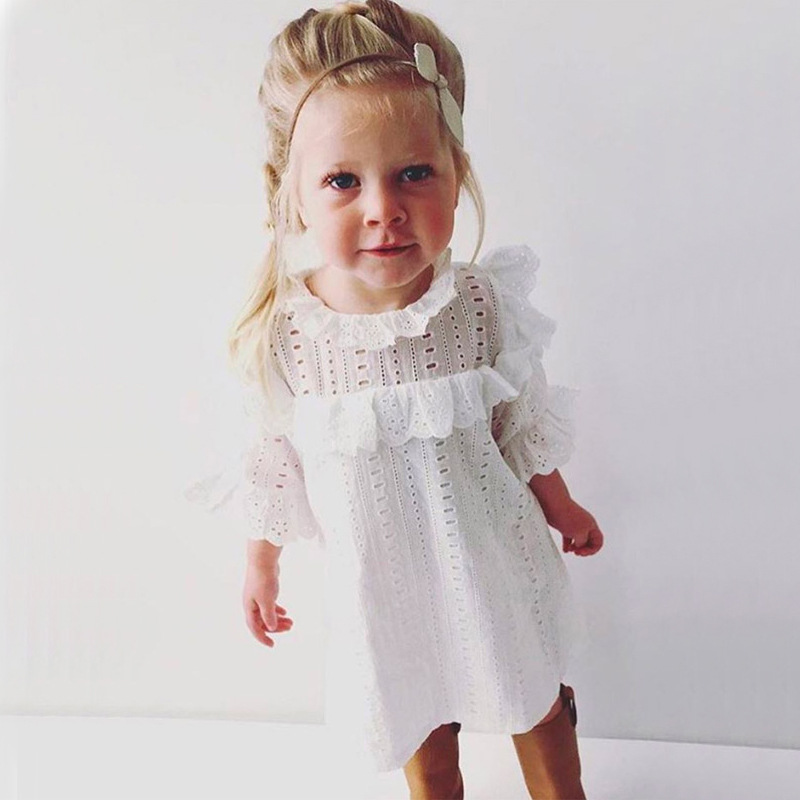 2017 Hot Fashion Baby Girl Lace Cotton Dress Infant Princess Summer Style White Half Sleeve Hollow