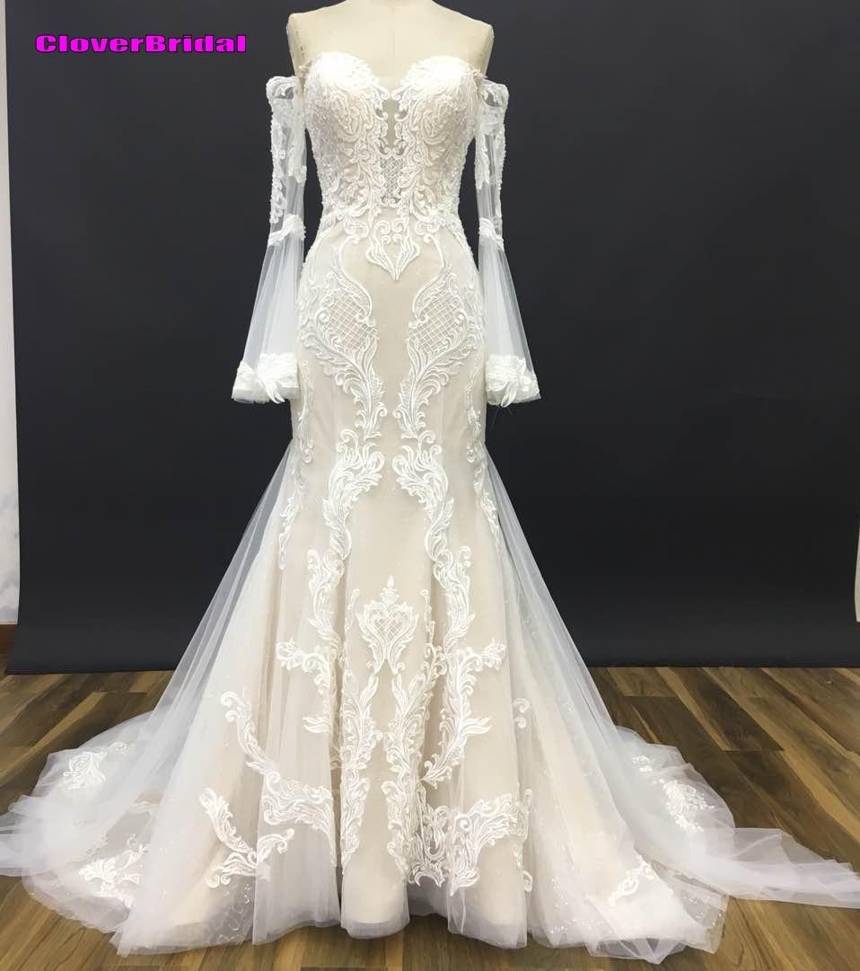 full pagoda sleeves ivory cream wedding dresses