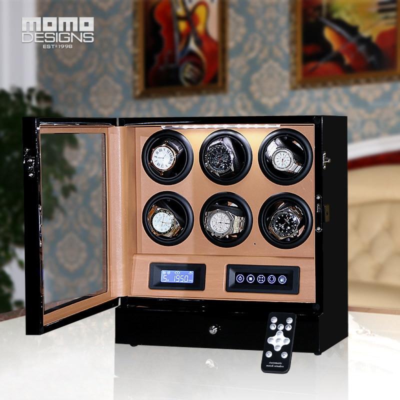 HOTSALE di Lusso Watch winder scatola 6 orologio automatico display con LCD touch screen/telecomando/HA CONDOTTO la luce per regalo di compleanno