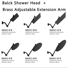 Ultra Thin Stainless Steel BLACK8/10/12 Inch Adjustable Rain Shower Head with Solid Brass Adjustable Extension Arm Folding 10 inch stainless steel shower head with arm wall mounted ultra thin rain shower heads with shower arm cp 10000a