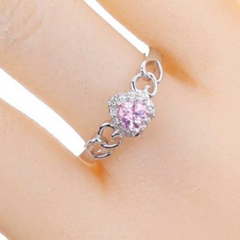 Fashion Hot Sale Women Ring Girl Lady Jewelry Crystal Trendy Fancy Hollow Heart Silver Plated Finger Ring Size 6-12