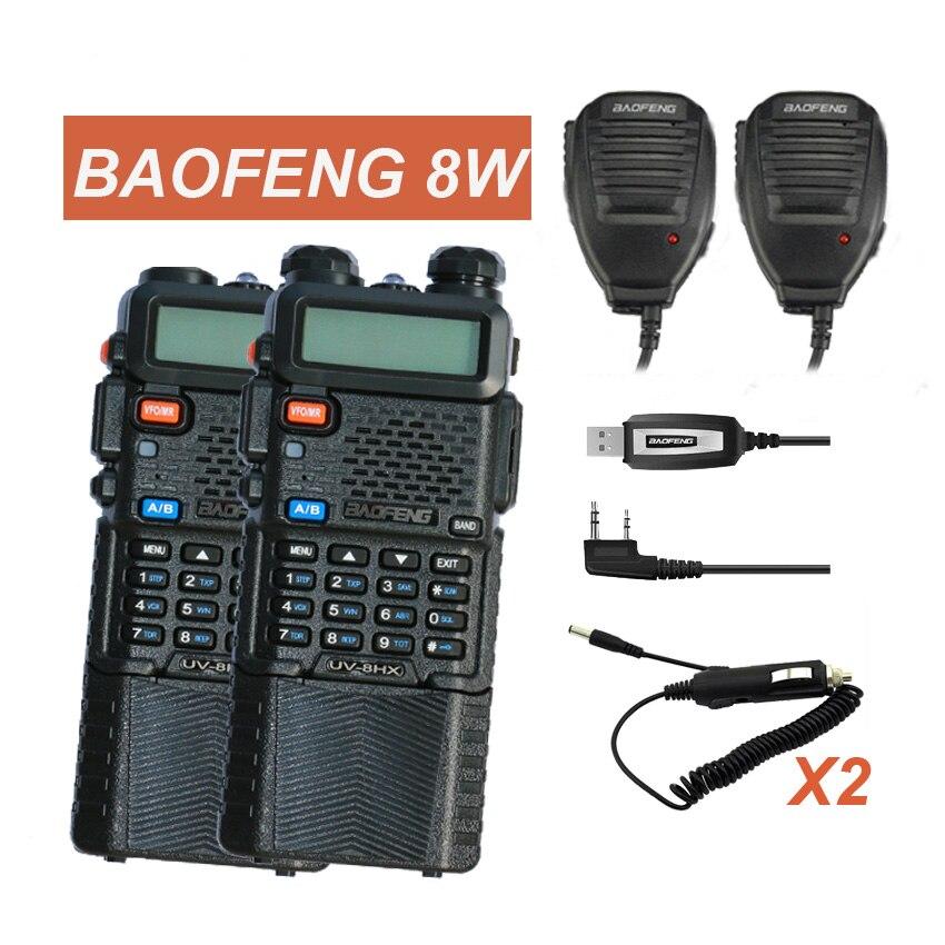 bilder für 2 Stücke Funk Baofeng UV-5R 8 Watt walkieTalkie UV-8HX 128CH VOX Ham Radio Toky Woky Fern CB Transceiver für Jagd Radio