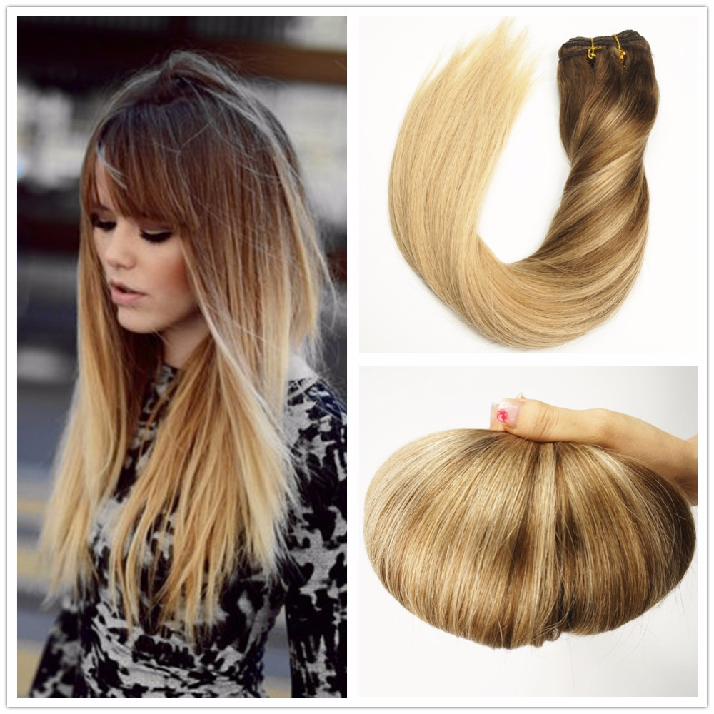 ombre balayage highlights blonde pu tape in hair. Black Bedroom Furniture Sets. Home Design Ideas