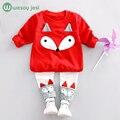 Roupa da criança meninas 2 pcs Manga Comprida Fox Tops + Calça Define Crianças Roupas Casuais Desgaste Da Escola roupas boutique roupa de crianças