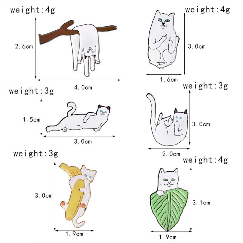 6 stks / set Witte Kat op Bladeren Takken Banaan Broche Pins Cartoon - Mode-sieraden - Foto 2