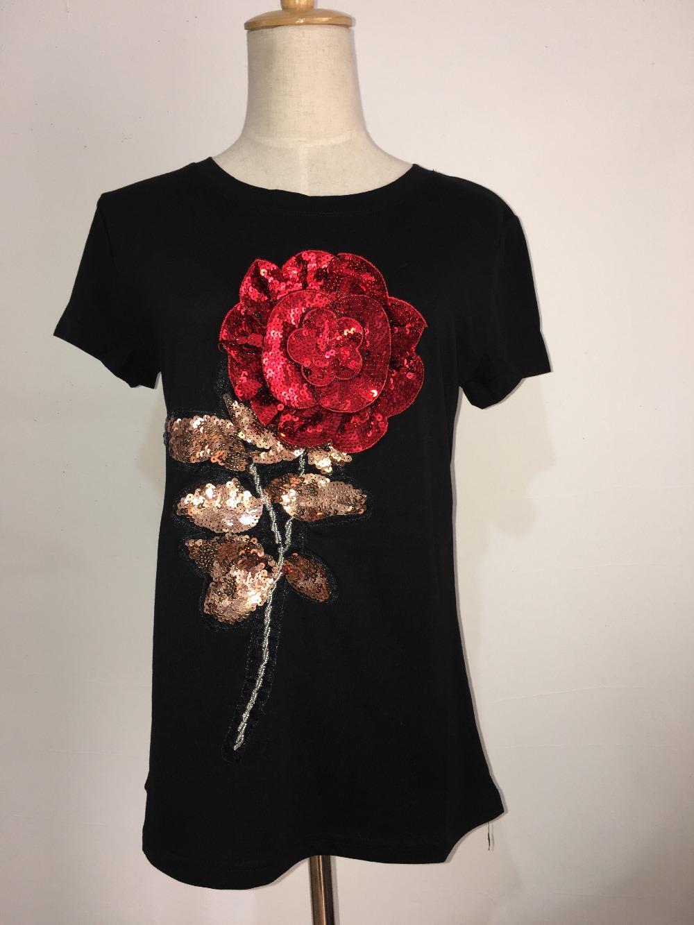 HTB1oQiQSpXXXXX XVXXq6xXFXXXh - New Summer women t shirt fashion cotton female rose flower tops t-shirt