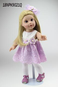 "NEW 18"" Blonde  Hair 45cm american princess Doll Realistic Baby Toys Birthday Gift for girls  kids boneca reborn"