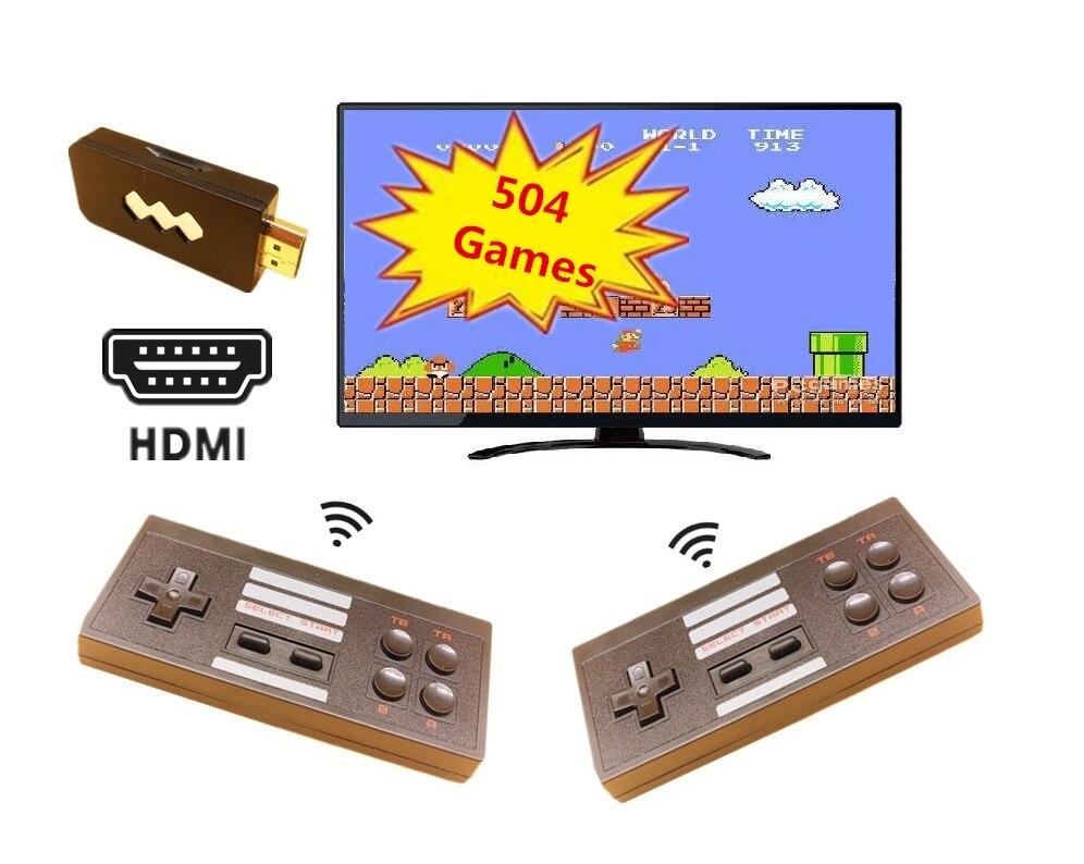 HDMI Mini Retro Jogo TV Console de Jogos de Vídeo para Jogos de NES com 2 Gamepads Sem Fio 504 Jogos Diferentes