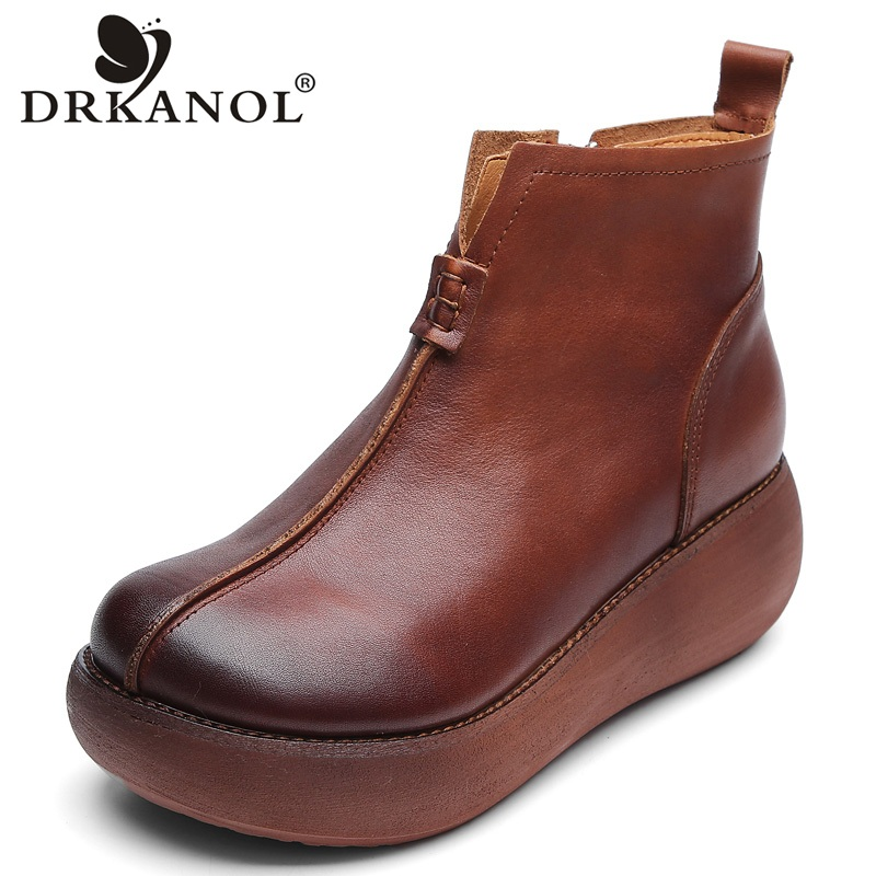 DRKANOL New Autumn <font><b>Winter</b></font> Round Toe 100% Genuine Leather Wedge Heel <font><b>Ankle</b></font> <font><b>Boots</b></font> <font><b>For</b></font> <font><b>Women</b></font> <font><b>Winter</b></font> Warm <font><b>Shoes</b></font> <font><b>Women</b></font> Platform <font><b>Boots</b></font> image