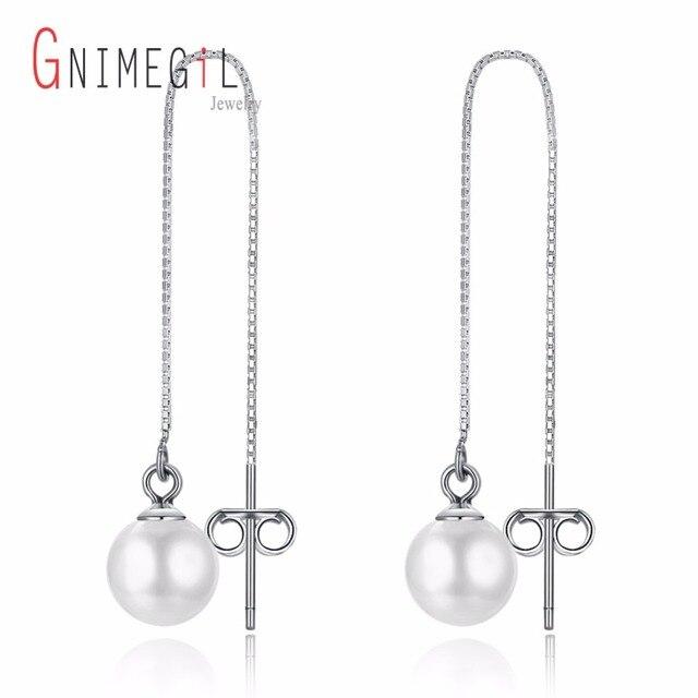 Gnimegil 2018 Fashion White Pearl Earrings For Women 925 Sterling Silver Jewelry Water Drop Earring