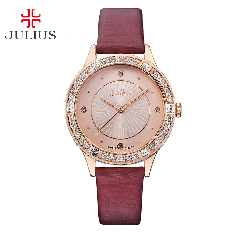 Elegant Simple Women's Watch Japan Quartz Fashion Rhinestone Hours Dress Leather Bracelet Girl Birthday Gift Julius Box