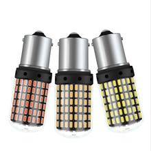 все цены на 1PC T20 7440 W21W LED Bulbs 3014 144smd led CanBus No Error 1156 BA15S P21W BAU15S PY21W led lamp For Turn Signal Light No Flash онлайн