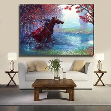 1 Pcs Artistic Abstract Oil Painting Canvas Print Armor Horse Knight Picture Modern Bedroom Wall Decor Framework Or Frameless