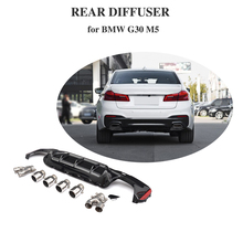Diffuser with 4outlet Muffler tips For BMW G30 G38 M Sport 540i Sedan 4-Door 2018 2019 PP rear bumper lip exhaust M5 Diffuser