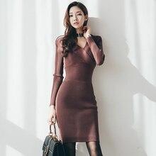 Осень зима свитер вязаное платье женское с v-образным вырезом сексуальное облегающее платье элегантное, с тонкой талией Бедро посылка вечерние платья