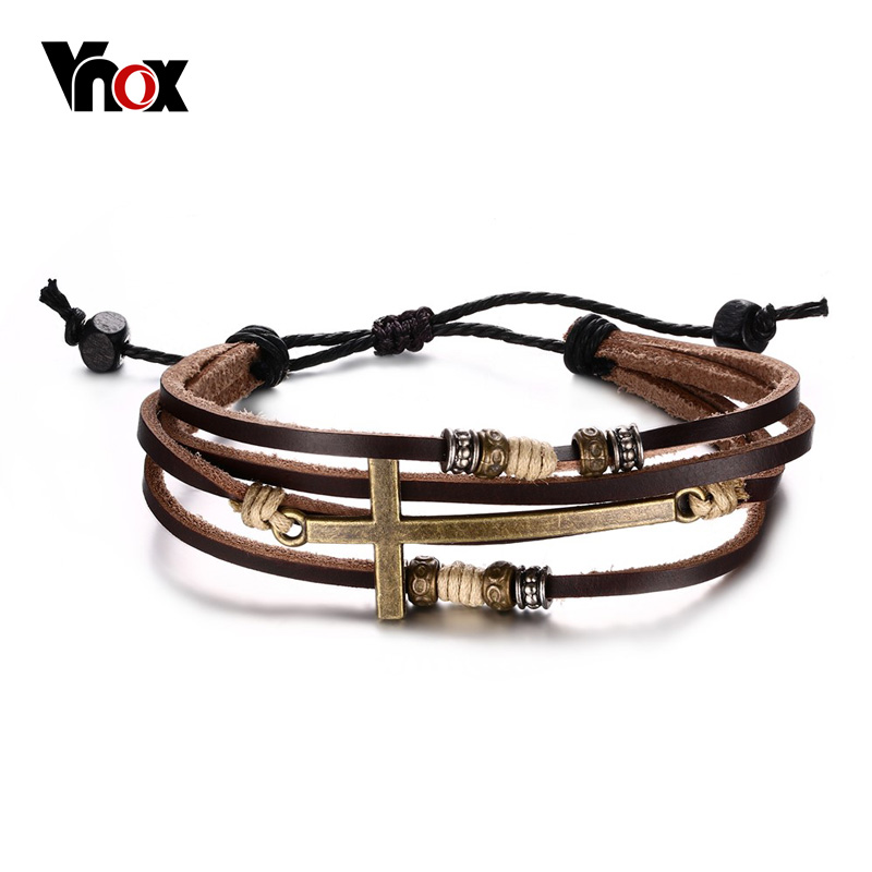 Vnox Genuine Real Leather Cross Bracelets Bangles For Women Men