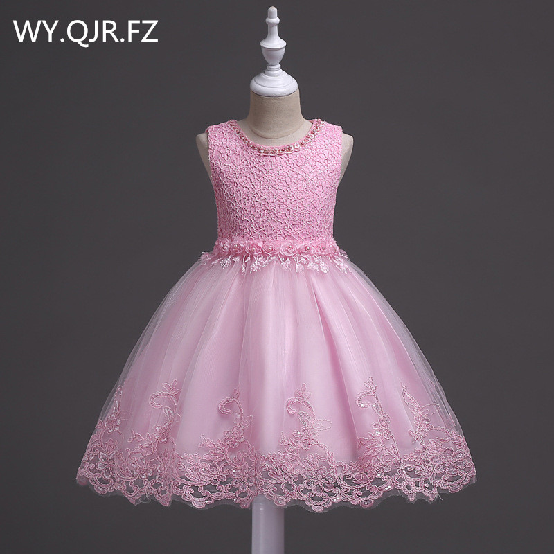 BH981#Pink blue Summer princess lace   girl's   gown children's pomp performance dance   dress   Ball Gown   Flower     Girl     Dresses   wholesale