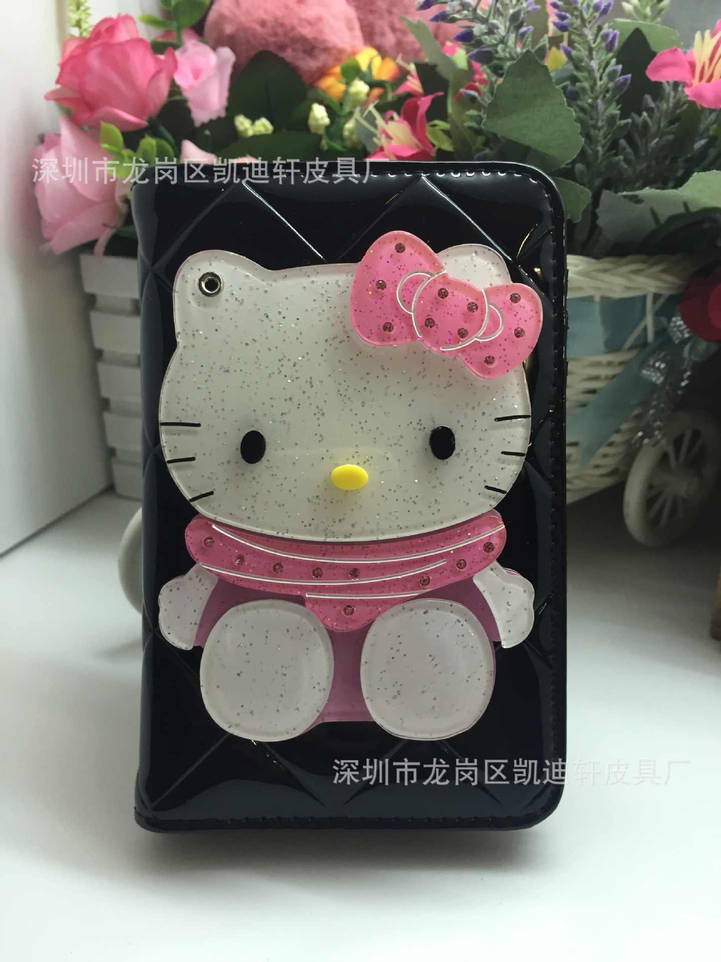 Espelho Marca de luxo Olá Kitty M Mulheres Bolsa Das Senhoras de Couro Bolsa Carteira Billetera Mujer Portefeuille Femme Feminino 40