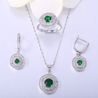ZHE FAN Green Red Glass White AAA Zirconia Women Jewelry Sets Fashion 3 Pcs Necklace Earrings Ring Set For Female Size 6 7 8 9