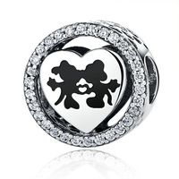 2017 NEW Style 925 Sterling Silver Mickey Minnie Love Heart Charm With Clear CZ Fits Pandora