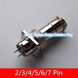 1 sztuk AP014 GX12 2/3/4/5/6/7Pin męskie i żeńskie 12mm drutu kabel złącze panelu kwadratowy kołnierz wtyczka lotnicza okrągłe gniazdo wtyczka DF12