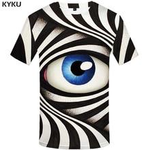 KYKU Eye T shirt Men Vintage Hip hop Streetwear Black And White Printed Tshirt Vortex 3d T-shirt Punk Rock Funny T shirts недорго, оригинальная цена