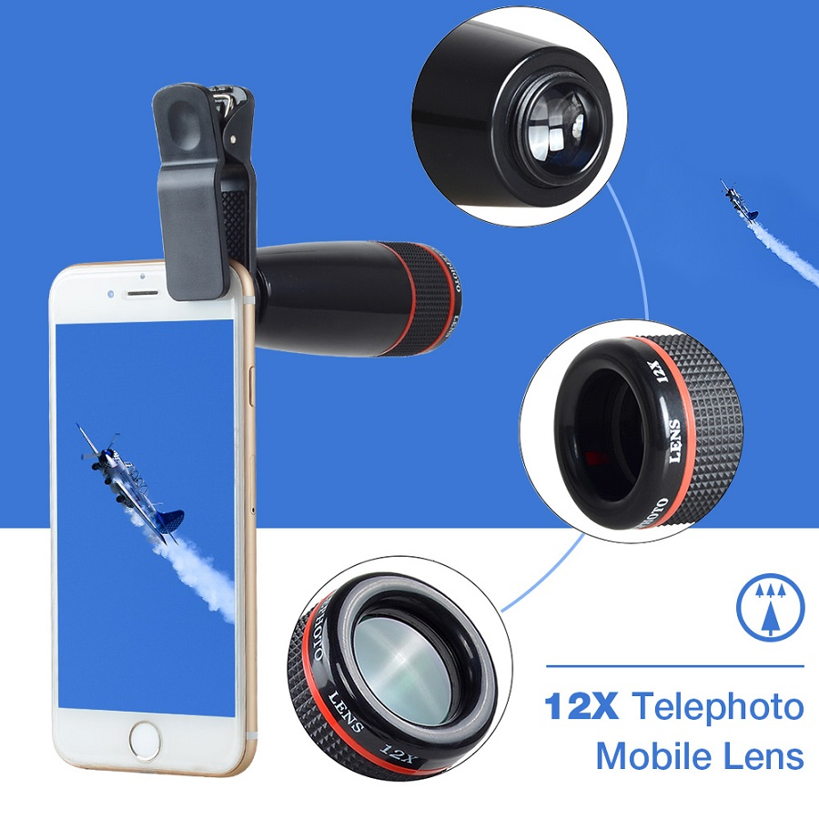 Apexel 12X Zoom Optical Lens Mobile Phone Telescope Lens for iPhone Samsung HTC Smart Phones Universal Clip APL 12X|lens for iphone|lens mobile|mobile phone telescope lens - title=