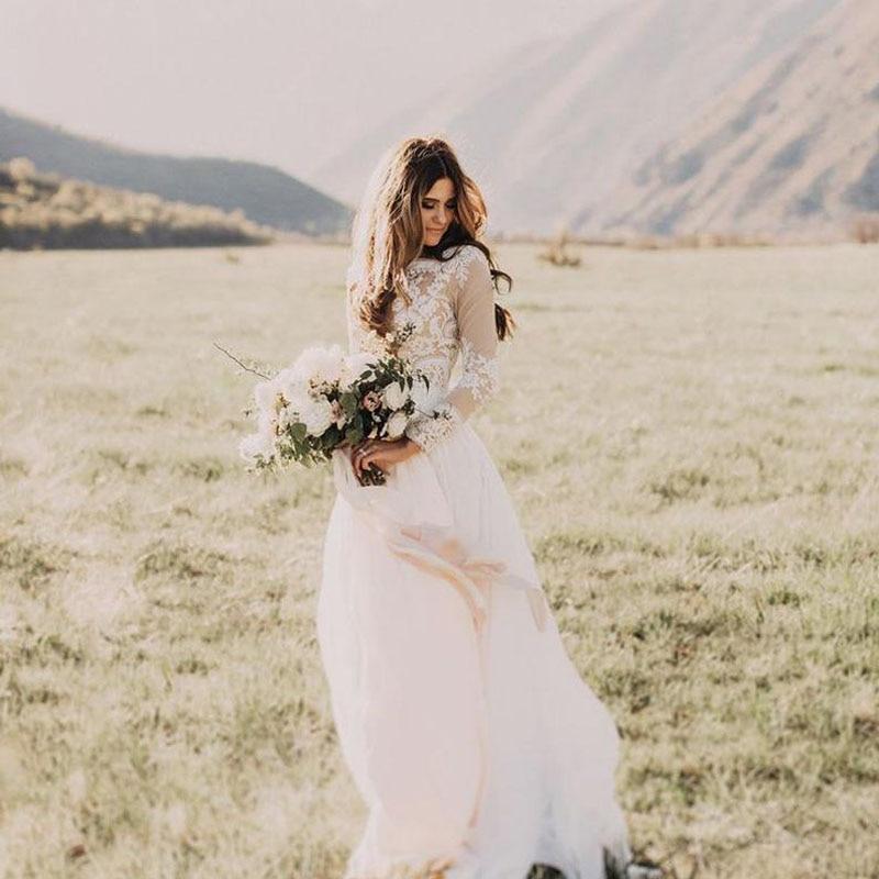 New Boho Long Sleeve Wedding Dress 2019 Robe De Mariee Vintage Lace Top New Bridal Dress Puffy Chiffon Wedding Dresses