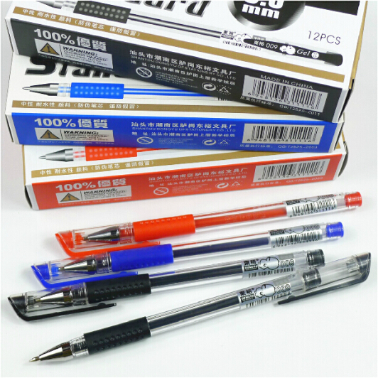 3pcs/ Lot Blue Balck Red 0.5 European Standard Gel Pen Free Shipping