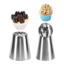 2pc Tulip Flower Sphere Russian Nozzles Icing Piping Pastry Tips Stainless Steel Nozzle Tube Cake Cream Decorating Tools