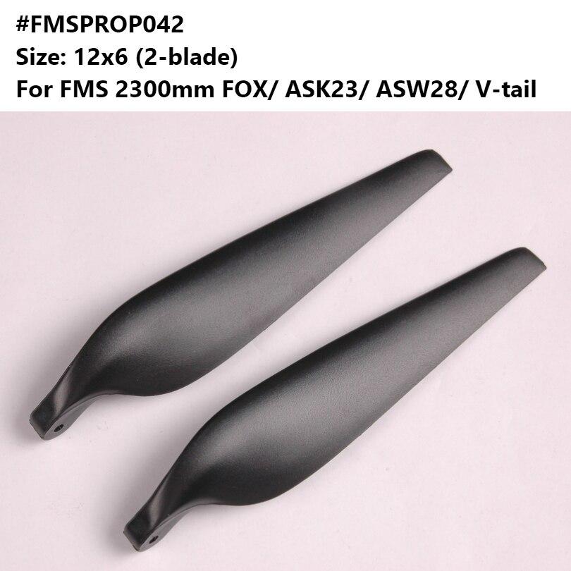 FMS 2300mm FOX ASW28 ASK23 hélice à queue en V 12x6 pouces 2 lames FMSPROP042 RC Avion modèle Avion passe-temps Avion pièce de rechange