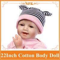 Regalo de la feliz Navidad 55 cm 22 pulgadas Renacer-Baby-Doll Con Rosa de Algodón Tejido Mezclado Prendas NPK Marca caliente Vender Bebes Reborn Benecas