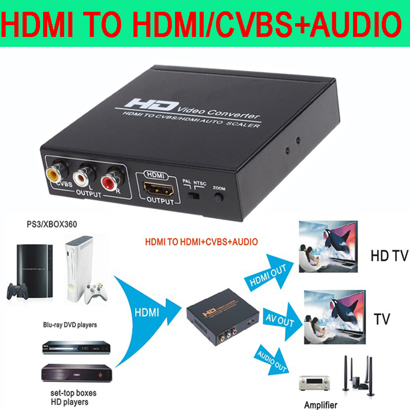 HDMI to HDMI and CVBS Video Converter  Support NTSC and PAL two standard TV formats Applied to STB XBOX360 PS3 HD players 2015 new hdmi to hdmi and cvbs video converter hdmi in video and hdmi out hdmi2av converter crt tv hot selling free shipping